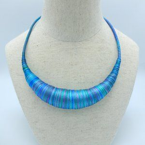 NEW Artisanal Rope Necklace - Blue Multi Hues